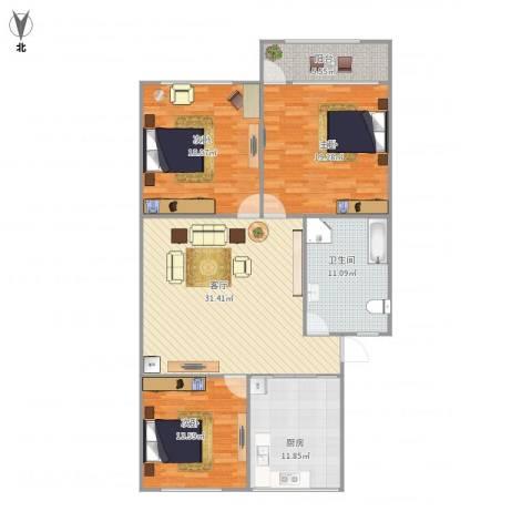 七里河小区3室1厅1卫1厨147.00㎡户型图