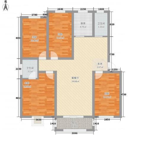 黄河明珠4室1厅2卫1厨112.00㎡户型图