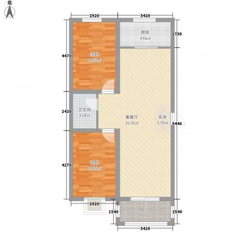 黄河明珠2室1厅1卫1厨76.00㎡户型图