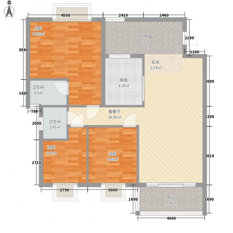 东海岸花园111.66㎡17幢02单位户型3室2厅2卫1厨