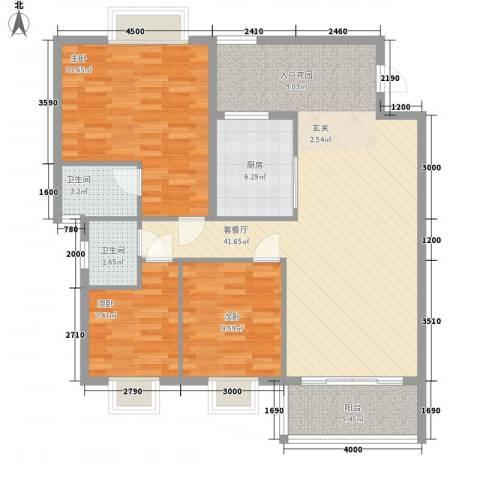 东海岸花园3室1厅2卫1厨112.00㎡户型图