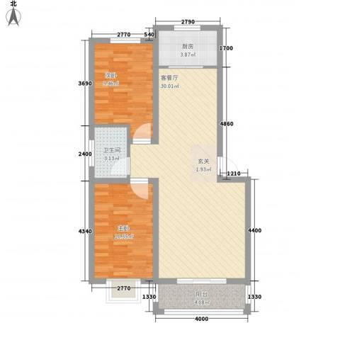 黄河明珠2室1厅1卫1厨70.00㎡户型图