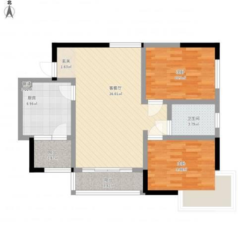 佛奥棕榈园2室1厅1卫1厨73.40㎡户型图