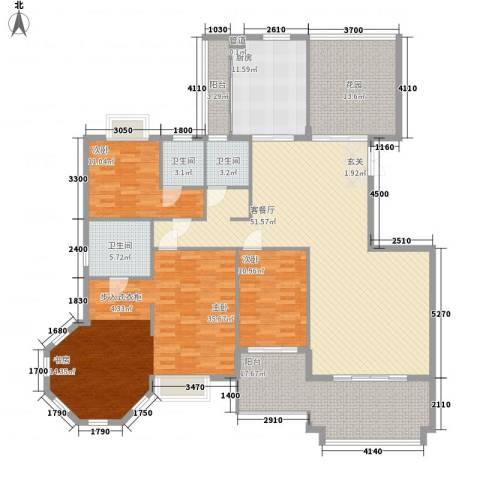 东海岸花园3室1厅3卫1厨185.00㎡户型图