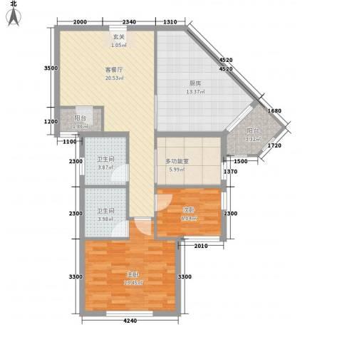 江兆豪庭2室1厅2卫1厨102.00㎡户型图