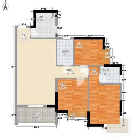 金景大厦3室1厅2卫1厨113.00㎡户型图