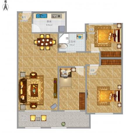 城置金色年华3室1厅1卫1厨106.00㎡户型图
