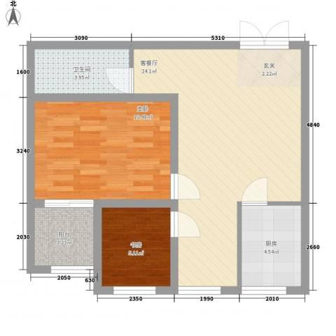 曲江拿铁城2室1厅1卫1厨81.00㎡户型图