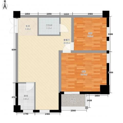曲江拿铁城2室1厅1卫1厨88.00㎡户型图