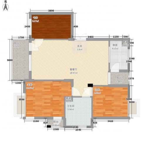 亚美大厦聚福阁3室1厅1卫1厨110.00㎡户型图