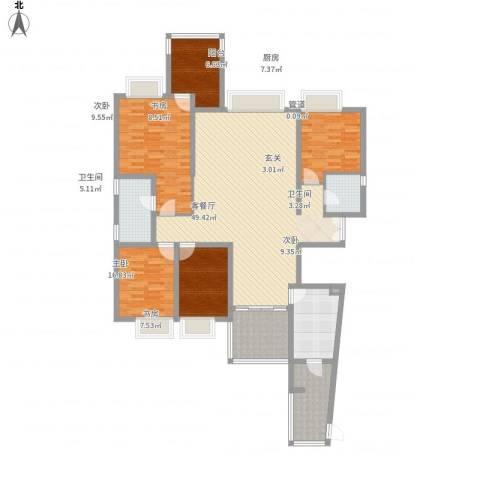 山水芳邻5室1厅2卫1厨186.00㎡户型图