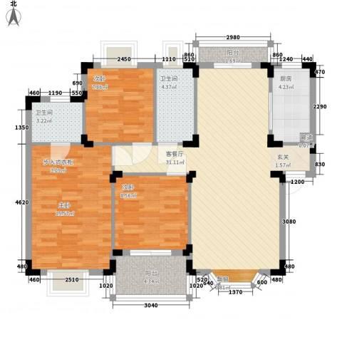 先冯弄3室1厅2卫1厨115.00㎡户型图