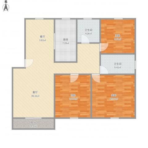 浦发绿城850弄小区3室1厅2卫1厨127.00㎡户型图