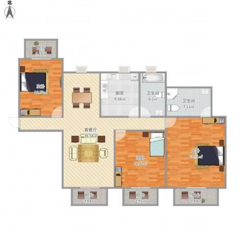 世茂江滨花园碧景湾3室1厅2卫1厨169.00㎡户型图
