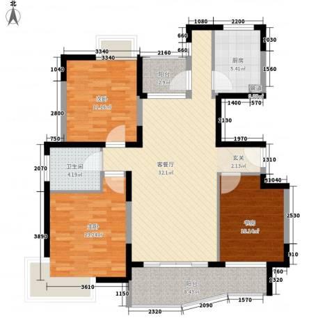蔚蓝城市花园3室1厅1卫1厨111.00㎡户型图