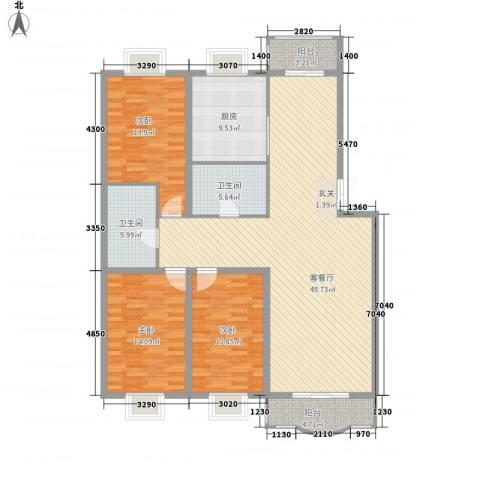 四海花园3室1厅2卫1厨167.00㎡户型图