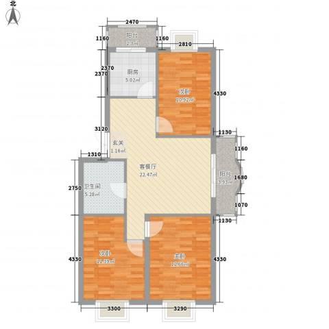 四海花园3室1厅1卫1厨103.00㎡户型图