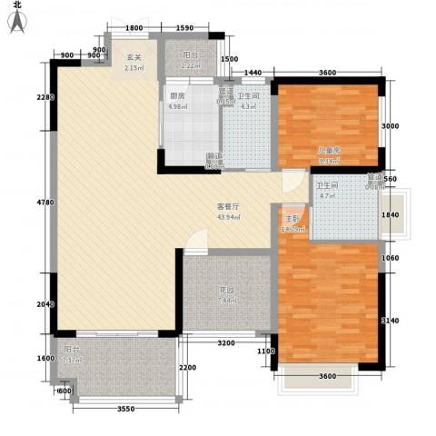 鼎峰源著2室1厅2卫1厨127.00㎡户型图