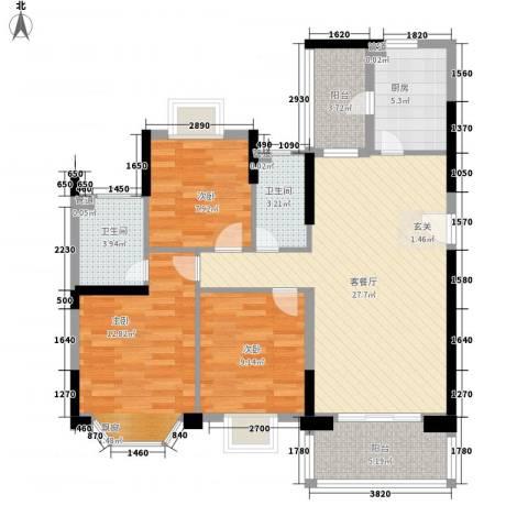 紫荆花园六期3室1厅2卫1厨90.47㎡户型图