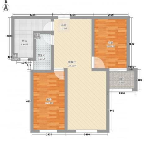 香水湾2室1厅1卫1厨96.00㎡户型图