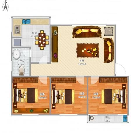 莲坂西小区3室1厅1卫1厨128.00㎡户型图
