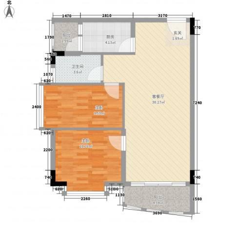 蔚蓝星湖四期2室1厅1卫1厨91.00㎡户型图