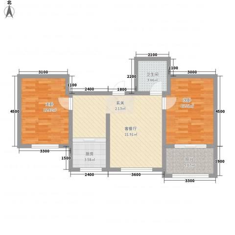 帝豪・丽水蓝湾2室1厅1卫1厨87.00㎡户型图