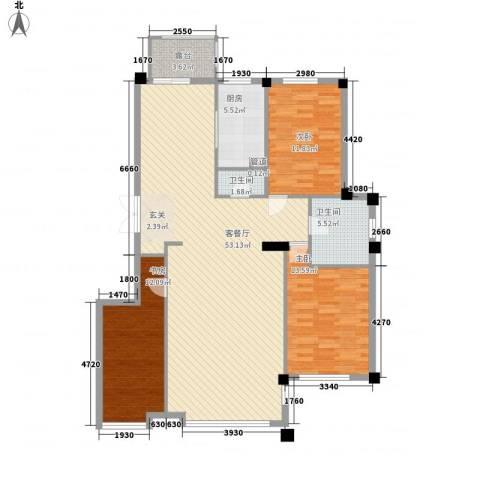 华夏海景3室1厅2卫1厨149.00㎡户型图
