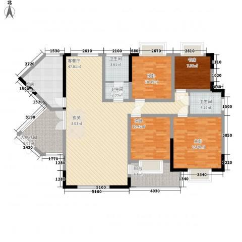 碧海乾图花园4室1厅3卫1厨161.00㎡户型图