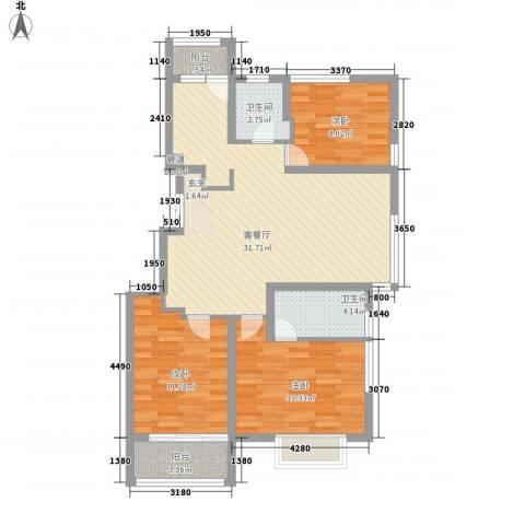 凯铂精品酒店3室1厅2卫0厨86.68㎡户型图