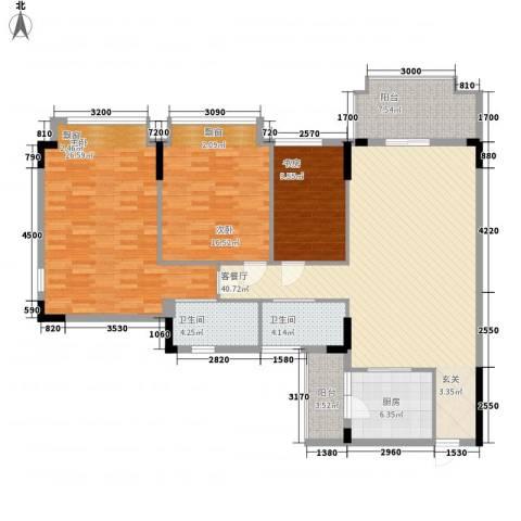 日华坊3室1厅2卫1厨165.00㎡户型图