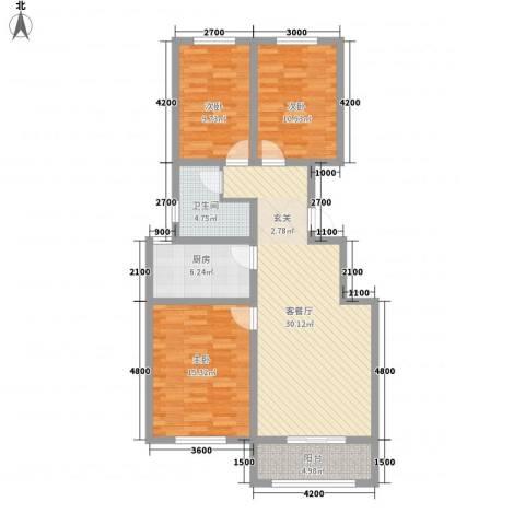 帝豪・丽水蓝湾3室1厅1卫1厨118.00㎡户型图