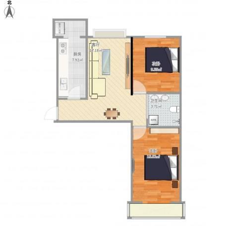 晨馨花园2室1厅1卫1厨73.00㎡户型图