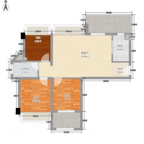 建发花园3室1厅1卫1厨108.00㎡户型图