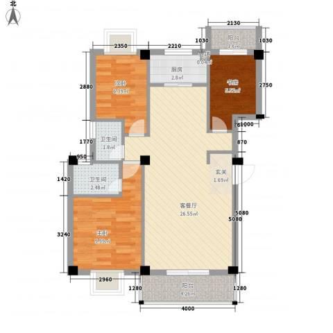 长欣花园3室1厅2卫1厨88.00㎡户型图