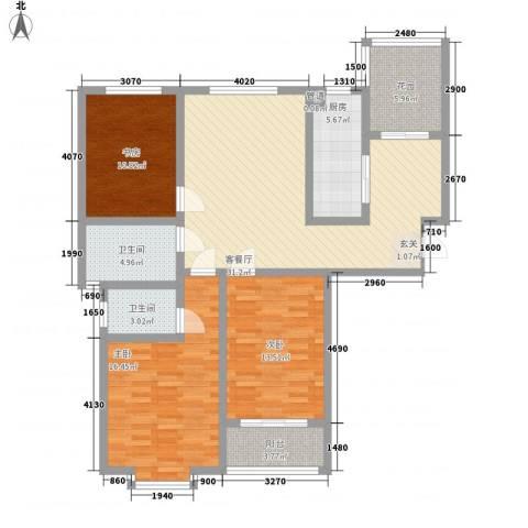 上城东郡3室1厅2卫1厨139.00㎡户型图