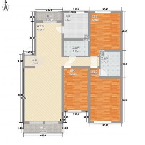莲蓉苑3室1厅2卫1厨158.00㎡户型图