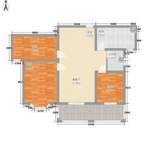 上城东郡3室1厅1卫1厨127.00㎡户型图