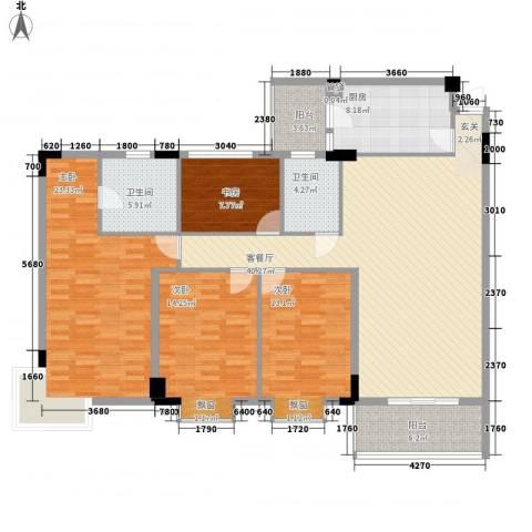 碧海名苑4室1厅2卫1厨126.96㎡户型图