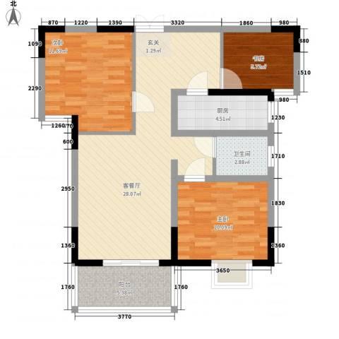 置诚公馆3室1厅1卫1厨99.00㎡户型图