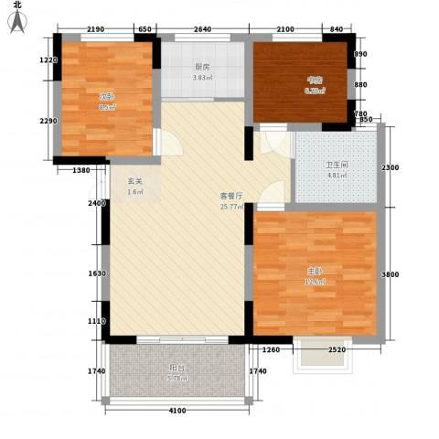 置诚公馆3室1厅1卫1厨98.00㎡户型图