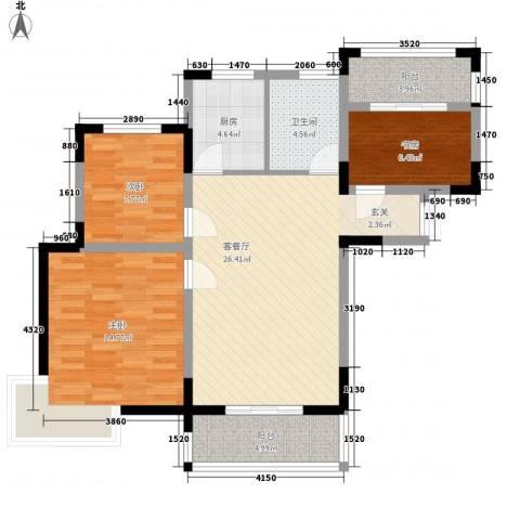置诚公馆3室1厅1卫1厨107.00㎡户型图