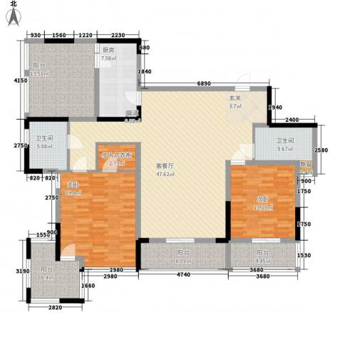 万科华庭2室1厅2卫1厨187.00㎡户型图