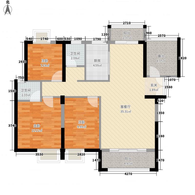 领秀御园125.00㎡I户型3室2厅2卫1厨