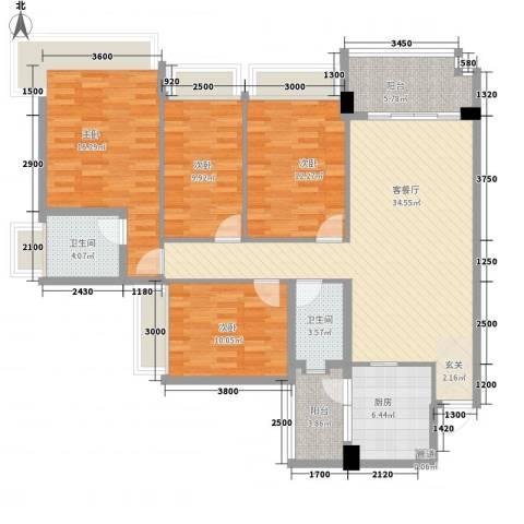 雅居乐岭会4室1厅2卫1厨135.00㎡户型图