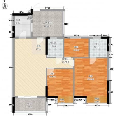 丽港城白领公寓3室1厅2卫1厨128.00㎡户型图
