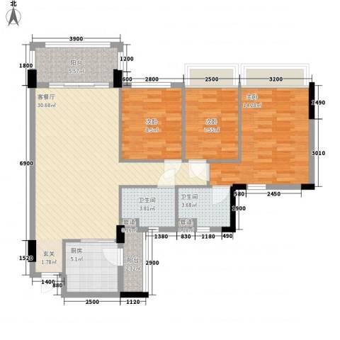 康桥活力城3室1厅2卫1厨81.83㎡户型图