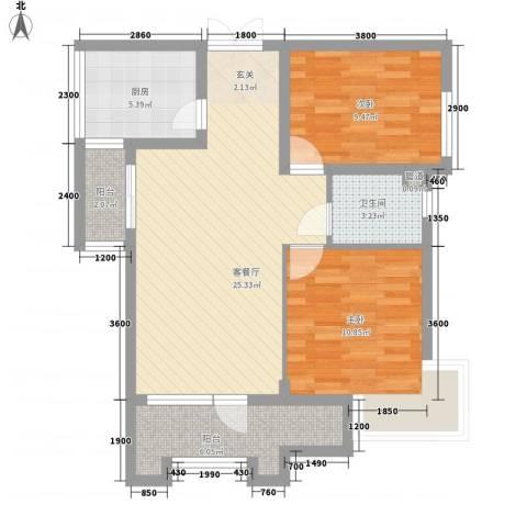小平岛海悦山2室1厅1卫1厨90.00㎡户型图