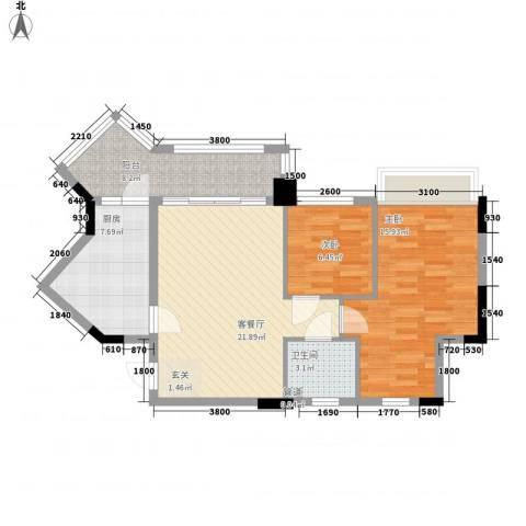 康桥活力城2室1厅1卫1厨76.00㎡户型图