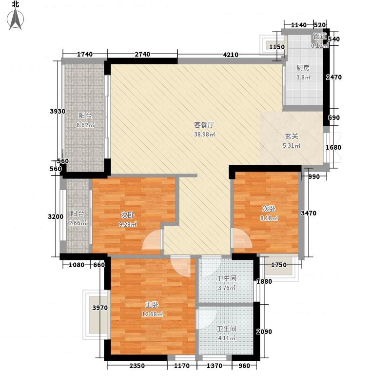 永年公园美学128.00㎡7#楼D户型3室2厅2卫1厨